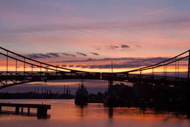 Sunset at the harbor by JoergJohannMueller