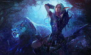 Night Elf Hunter with Spirit Beast by PureBlissXx