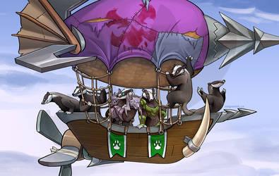 Badgers on a Zeppelin by weremagnus