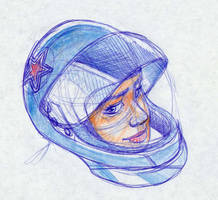 Portrait of girl with helmet by fabianfucci