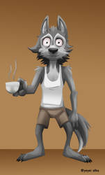 Wolf and coffee by YeyeiAlba