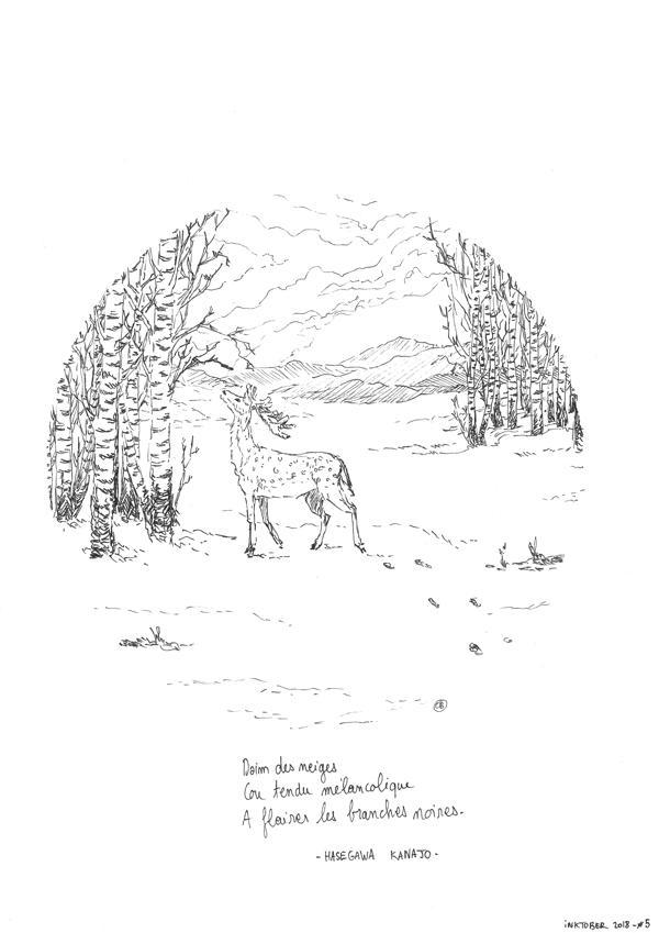 Inktober 2018 - Day 5 : Daim des neiges by jainas