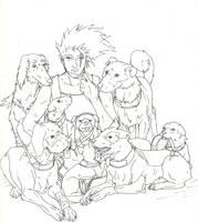 Kakashi's dogs lineart by jainas