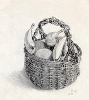 Basket with Artificial Fruit by hank1