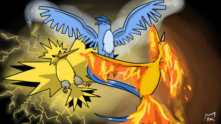 Legendary Birds - Articuno, Zapdos and Moltres by lapeachMC