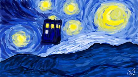 TARDIS - Vincent Van Gogh - Starry Night by lapeachMC