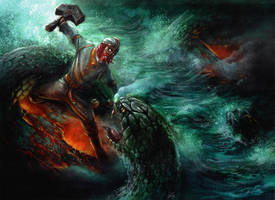 Thor's fight with Jormungandr by alarie-tano