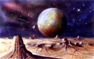 Alien landscape with planet by antonvandort