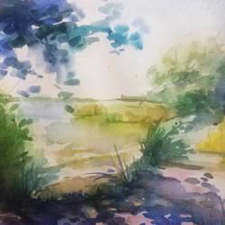 Lake shore (etude) by LazyDragonAss