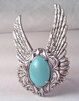 Blue Stone Winged Ring by SteamDesigns