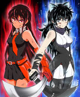 The Will to Fight on! UI Blake and KK Akame by P-BOY46