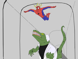 Spidey V.s. The Lizard colored by stelly777