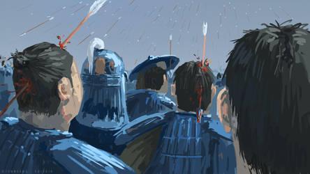 Kingdom Fan Art - Qin under the arrows by TommSama