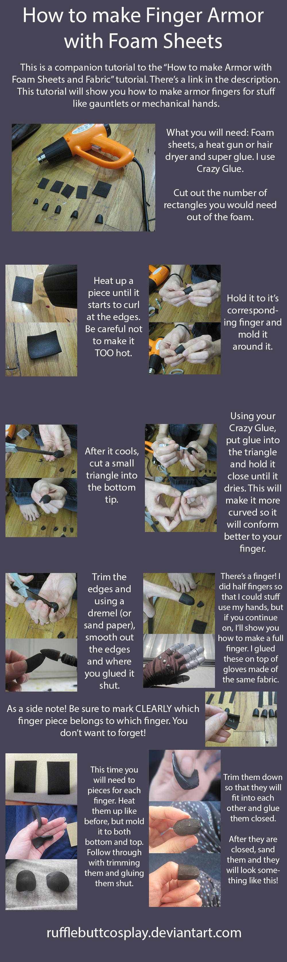 How to make Finger Armor with Foam Sheets by RuffleButtCosplay