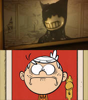Lincoln Loud scared of Ink-Bendy by Mega-Shonen-One-64