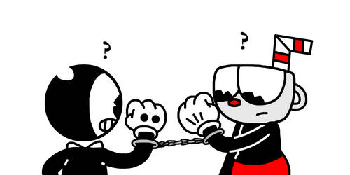 Bendy and Cuphead handcuffed by Mega-Shonen-One-64