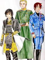 Hetalia :Japan-Germany-Italy by hanakoofthejungle