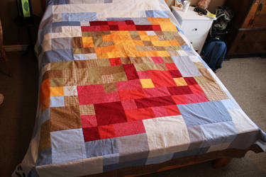 8 Bit Jumping Mario Patchwork Quilt by PixelCollie