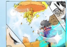 Saskue VS Pikachu by NavyBlueManga
