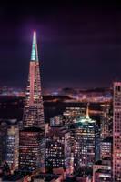 Transamerica at Night with Skyline by AugenStudios