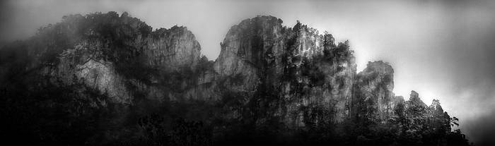 Seneca Rocks in the Fog by AugenStudios