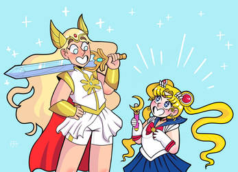 She-Ra and Sailor Moon by Sinklair8