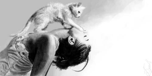 girl and cat by buketGvozdei