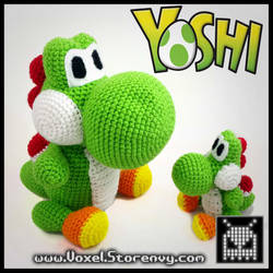 Large and Small Wooly Yoshi by VoxelPerlers