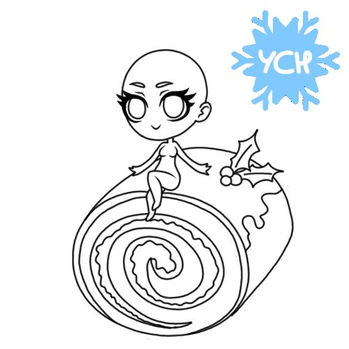 YCH winter holiday Chibi - cake roll #1 by anineko