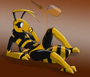 Honey-coated honeybee by ProteusIII