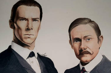 Sherlock and Watson by Louise-Veale