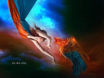 Sky blue red hell by vivi-art