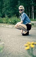 Pretty girl on the road by RasmusLuostarinenArt
