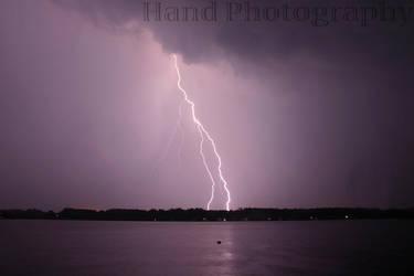 Lightning on Northwood Lake by handphotography