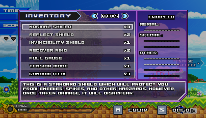 (Sonic vs Darkness) Inventory Menu by Kainoso
