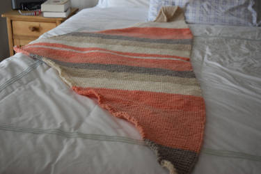 Peach and Gray Triangle Scarf/ Shawl On Etsy Now by BlackRose2172