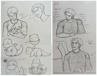 DD: Gordy and BARNEY Sketch Dump by chiyokins