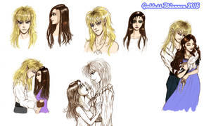 Sarah  and Jareth sketches by GoddessRhiannon13