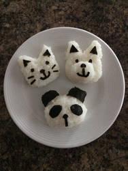 Onigiri cat, puppy, and panda by blueshywolf124
