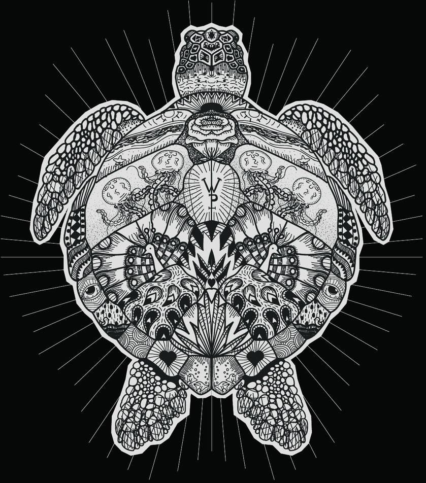 Green Sea Turtle Zentangle by blueshywolf124