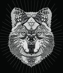 Mexican Grey Wolf Zentangle by blueshywolf124