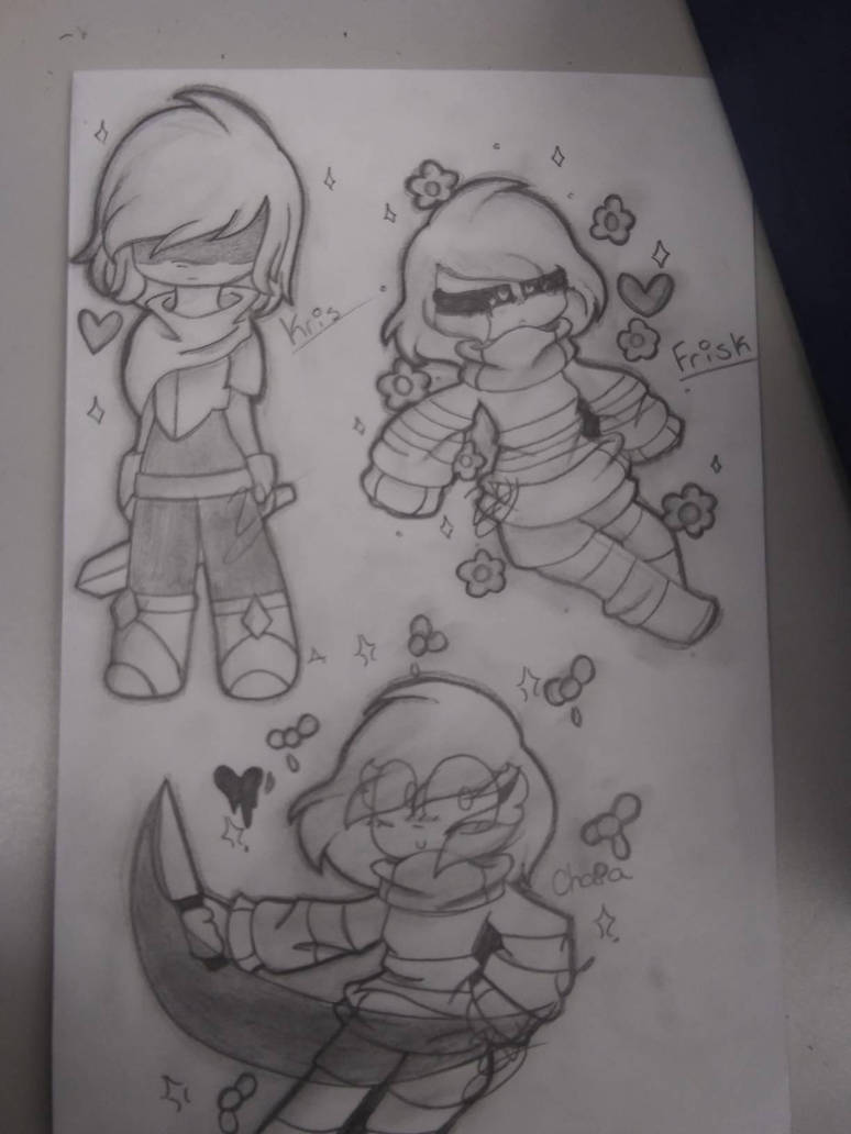 Kris, Frisk, and Chara by kitty4288