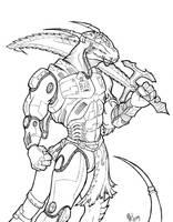 Cyborg Anthro Dragon by dragonnetstorm