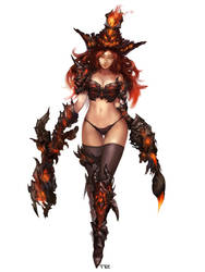 Miss Fortune with Hellfire armor by TEnmoom