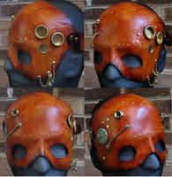 Steampunk leather mask by waywarddreams