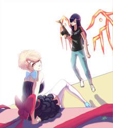 OC amelie and elizabeth by SteamyTomato