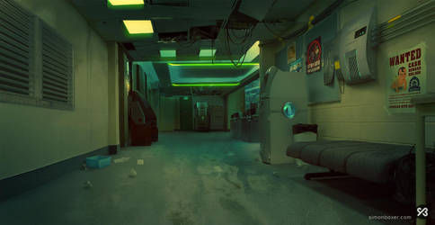 Background - Police Station Hallway by SimonBoxer
