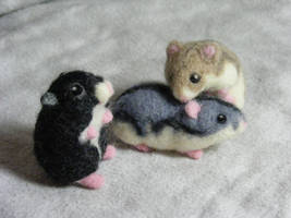 CUSTOM Needle Felted Dwarf Hamsters by CVDart1990