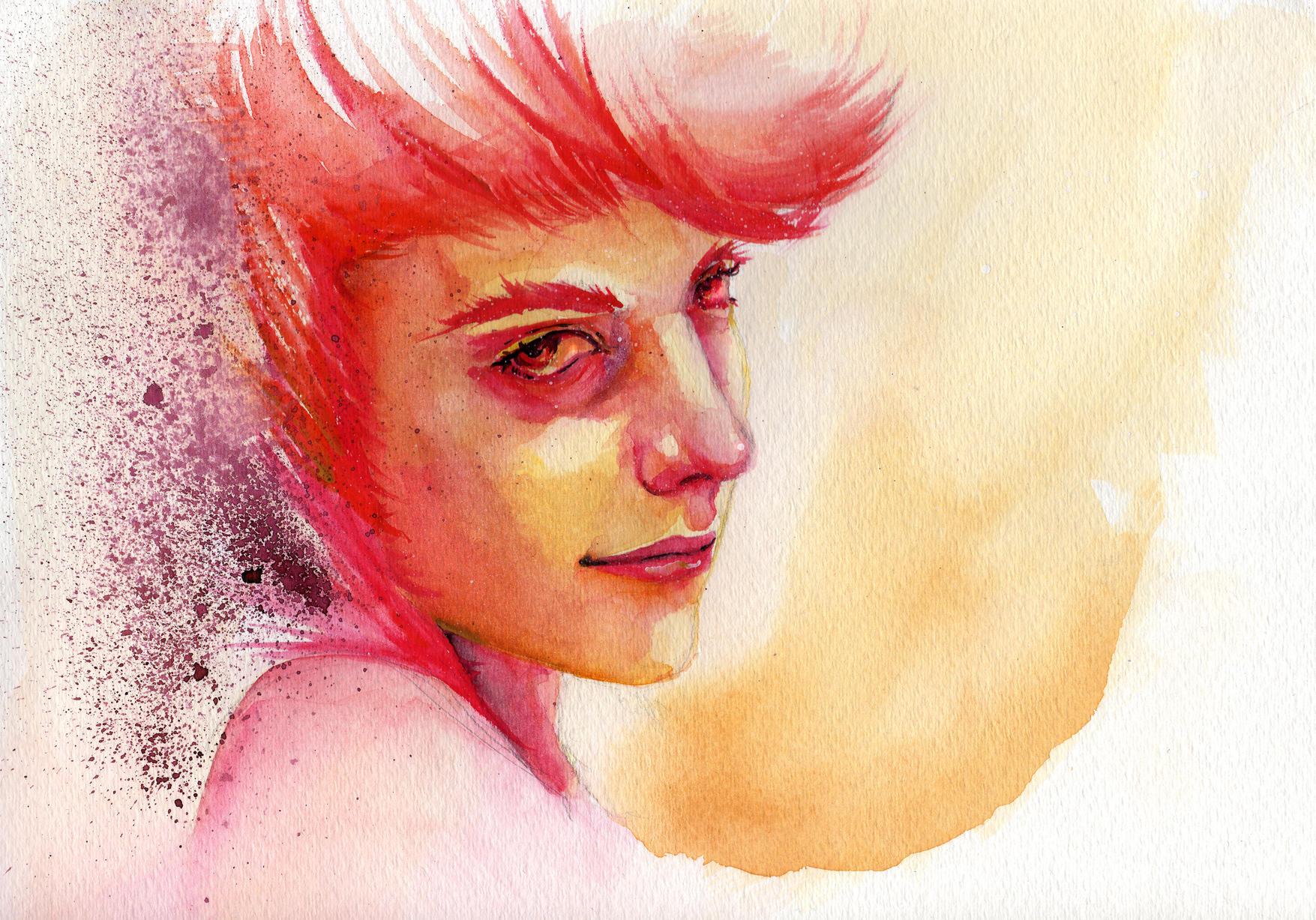 Self Portrait in Watercolor by shimbo-kun