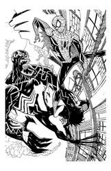 SPIDERMAN vs VENOM line art by drawhard
